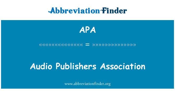 APA: Audio Publishers Association
