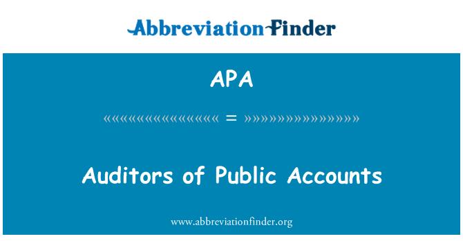 APA: Auditors of Public Accounts