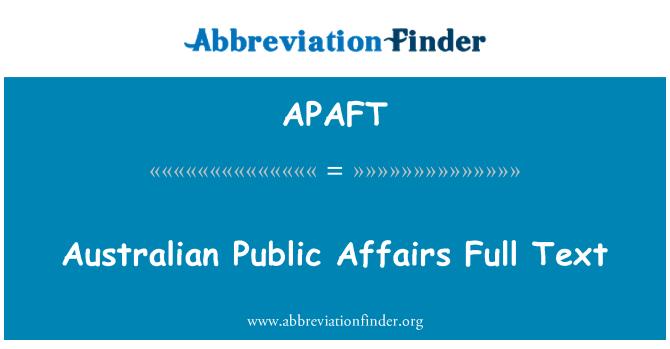 APAFT: Australian Public Affairs Full Text