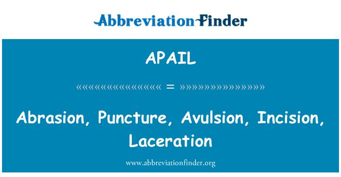 APAIL: Abrasion, Puncture, Avulsion, Incision, Laceration