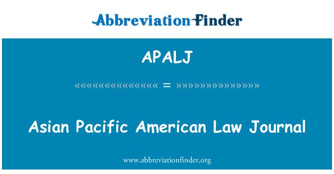 APALJ: Asian Pacific American Law Journal