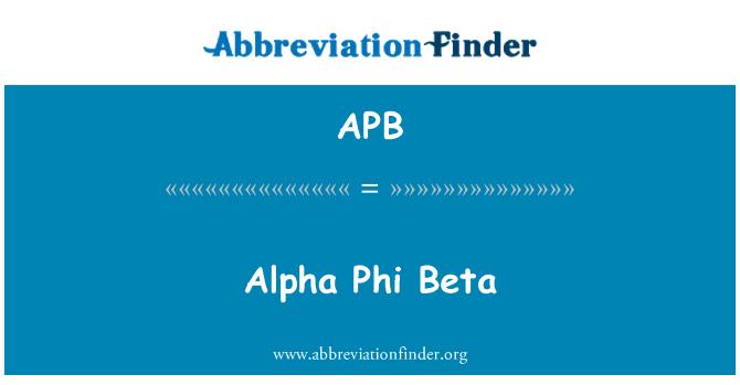 APB: Alpha Phi Beta