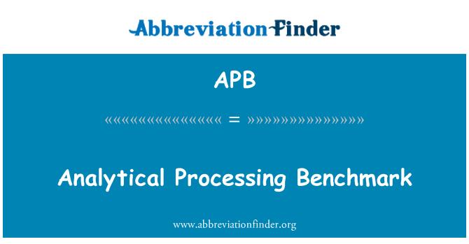 APB: Analytical Processing Benchmark
