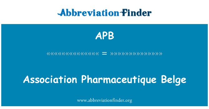 APB: Association Pharmaceutique Belge