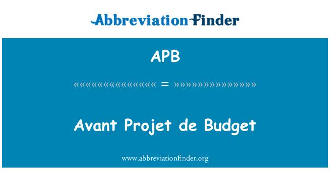 APB: Avant Projet de Budget