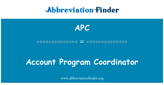 APC: Account Program Coordinator