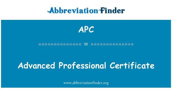 APC: Advanced Professional Certificate