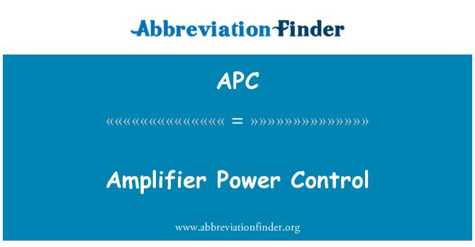 APC: Amplifier Power Control