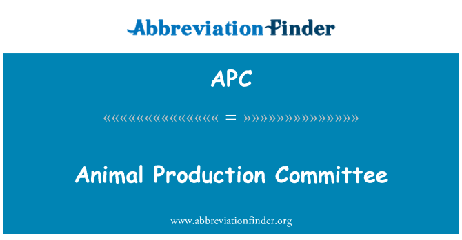 APC: Animal Production Committee