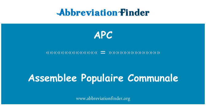 APC: Assemblee Populaire Communale