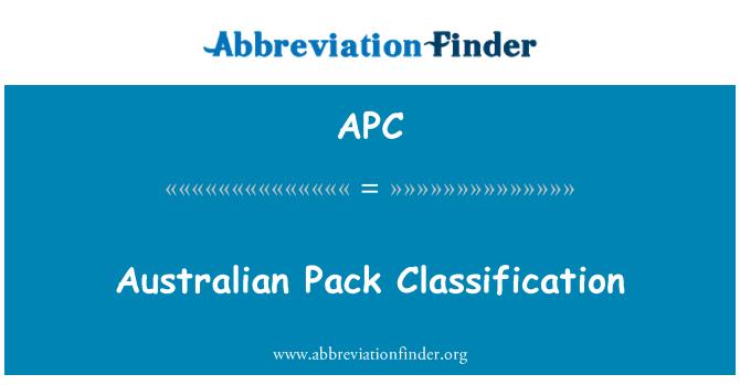 APC: Australian Pack Classification
