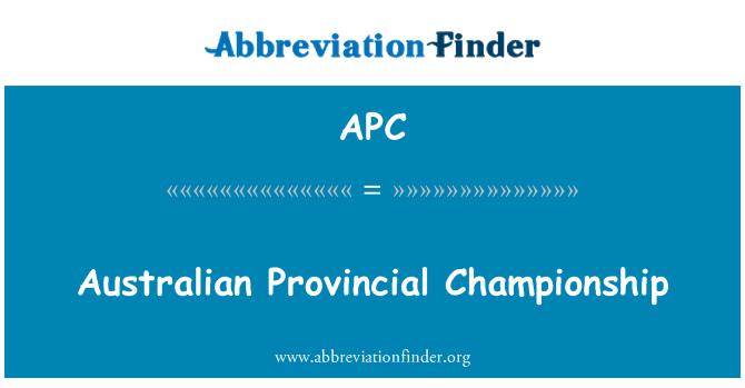 APC: Australian Provincial Championship