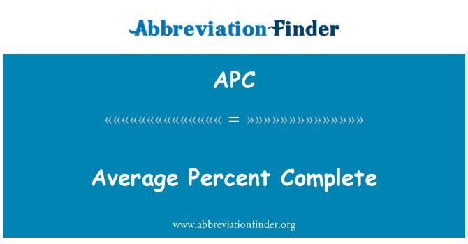 APC: Average Percent Complete