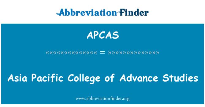 APCAS: Asia Pacific College of Advance Studies
