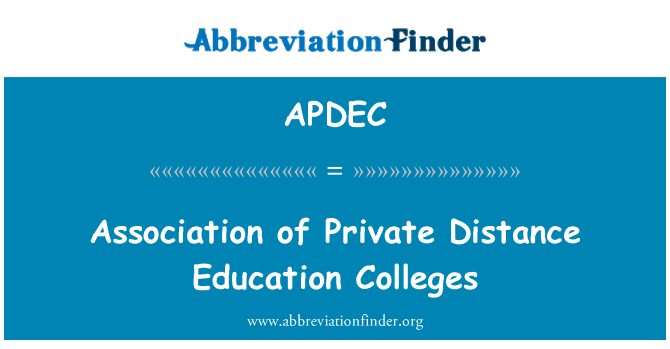 APDEC: Association of Private Distance Education Colleges