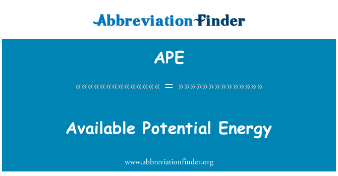 APE: Available Potential Energy