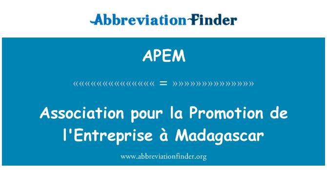 APEM: 协会倒拉促进 de l'Entreprise à 马达加斯加