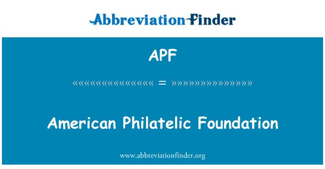 APF: American Philatelic Foundation