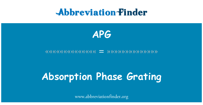 APG: Absorption Phase Grating