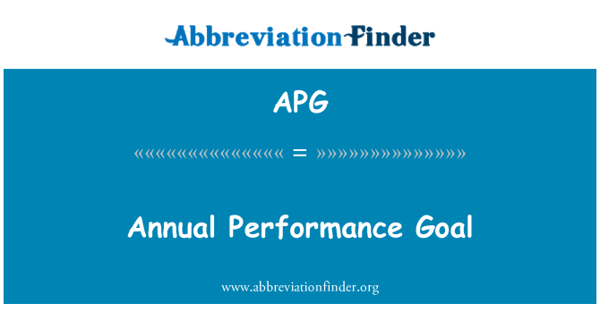 APG: Annual Performance Goal