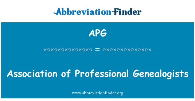 APG: Association of Professional Genealogists