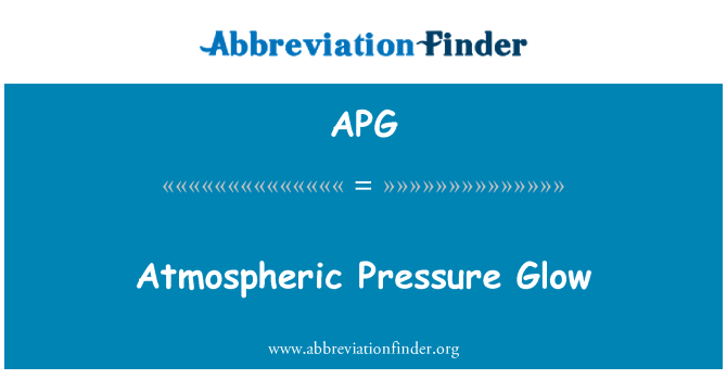 APG: Atmospheric Pressure Glow