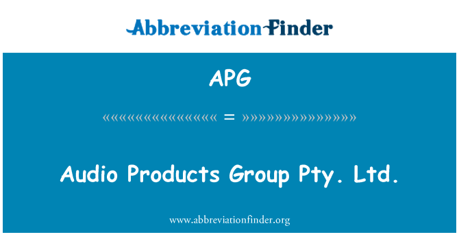 APG: Audio Products Group Pty. Ltd.