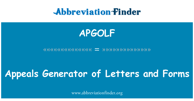 APGOLF: Appeals Generator of Letters and Forms