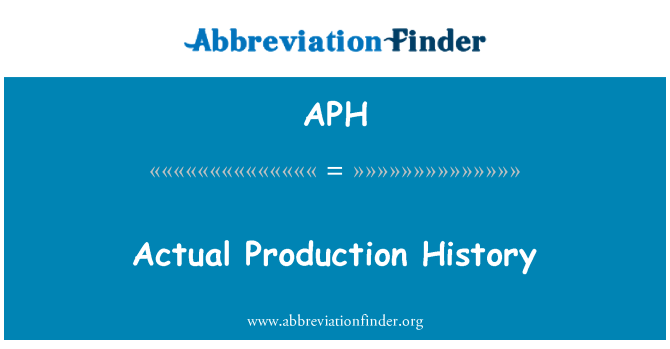 APH: Actual Production History