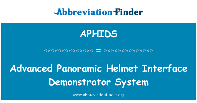 APHIDS: Advanced Panoramic Helmet Interface Demonstrator System