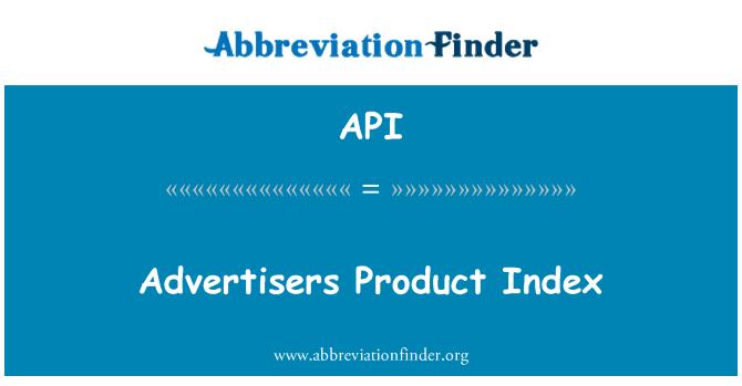 API: Advertisers Product Index