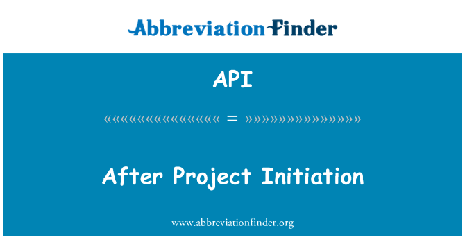 API: After Project Initiation