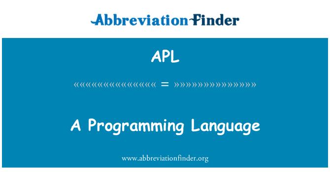 APL: A Programming Language