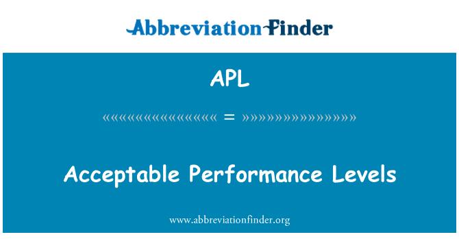 APL: Acceptable Performance Levels