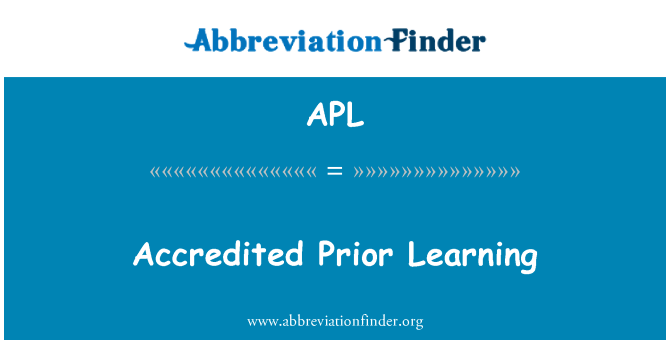 APL: Accredited Prior Learning