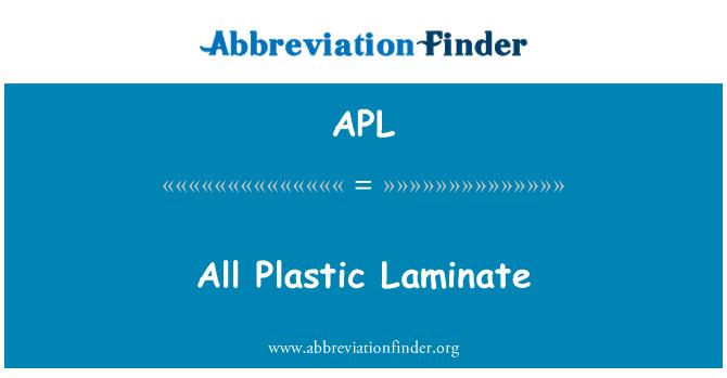 APL: All Plastic Laminate