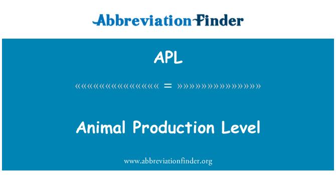 APL: Animal Production Level