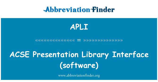 APLI: ACSE 演示文稿库界面 (软件)