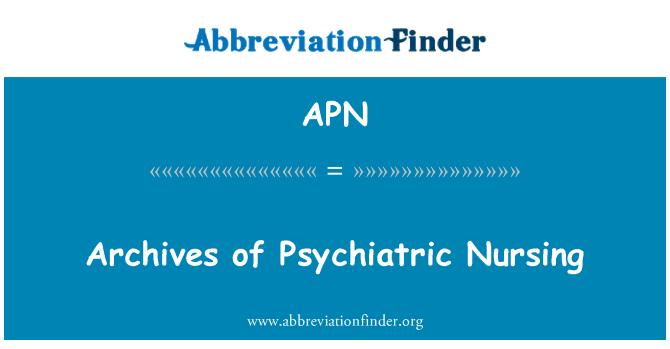 APN: Archives of Psychiatric Nursing