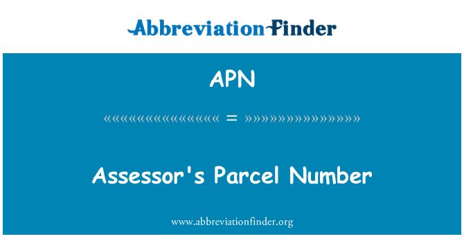 APN: Assessor's Parcel Number