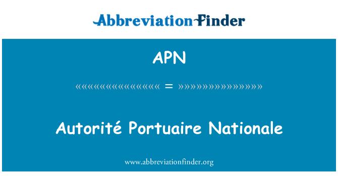 APN: Autorité Portuaire Nationale