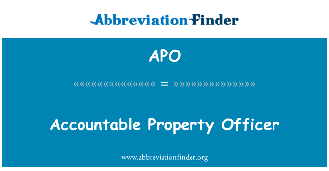 APO: Accountable Property Officer
