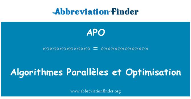 APO: Algorithmes Parallèles et Optimisation
