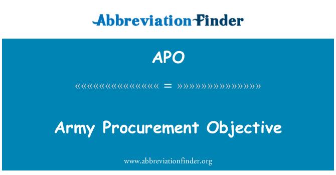 APO: Army Procurement Objective
