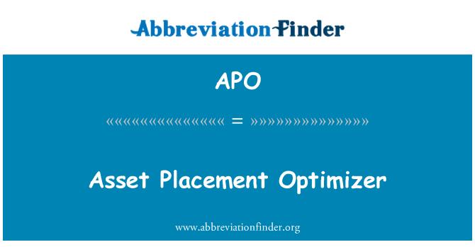 APO: Asset Placement Optimizer