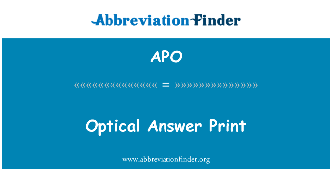 APO: Optical Answer Print