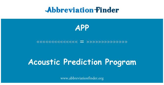 APP: Acoustic Prediction Program