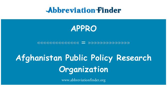 APPRO: Afganistan kamu politikası araştırma kuruluşu