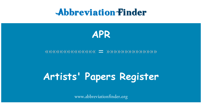 APR: Artists' Papers Register