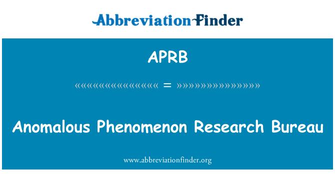 APRB: Fenómeno anómalo Research Bureau